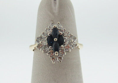 Natural Blue Marquise Cut Sapphires Diamonds Clusted Solid 14K Yellow Gold Ring