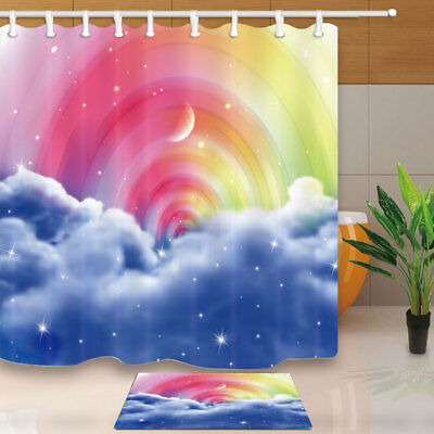 Fantastic Sky And Rainbow Bathroom Shower Curtain Set Fabric & 12 Hook 71Inch