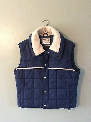 Vintage 80s Blue Puffy Vest With Shearling Trim