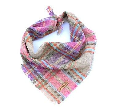 Frayed Foxy In Pink Tweed Dog Bandana - Tie on Classic Scarf-Small-Large