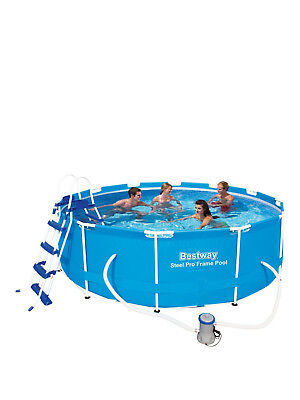 BESTWAY 12ft Foot x 39.5 Inch Steel Pro Frame Swimming Pool Includes ...