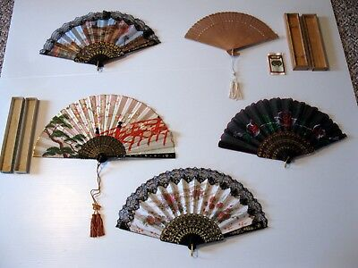 Assortment of 5 Vintage Ladies Hand Fans