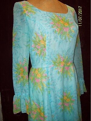Vintage 1970's Blue Green Pink Yellow Maxi Hippy Party Dress by Lanz Size Medium