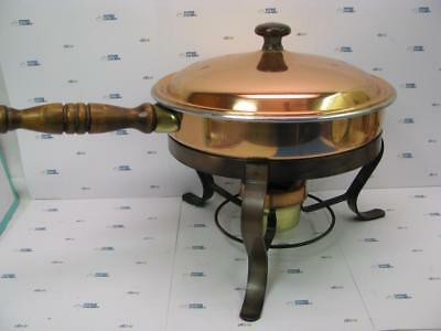 Vintage Copper Chafing Dish with Lid on Brass Stand and Wooden Handle