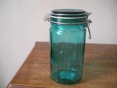 """VTG Teal Glass Wire Bail Lid Jar Canister 12 Panel Clean White Rubber Gasket 8"""""""