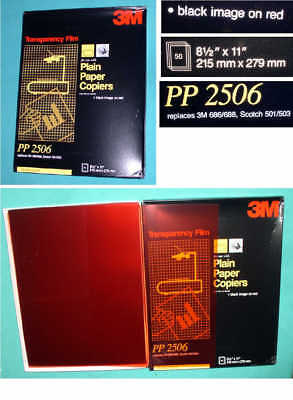 3M PP-2506 TRANSPARENCY FILM for PLAIN PAPER COPIERS/BLACK IMAGE ON RED/50 SHEET