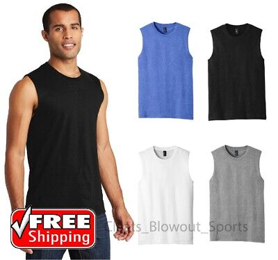 Mens Sleeveless Muscle Tee Cotton Solid Blank Tank T Shirt Summer Gym Top DT6300