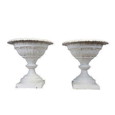 Pair of Large Off-White Cast Iron Planters