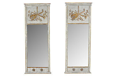 Pair of French Vintage 1960s Painted Trumeau Mirrors Gilt Wood Details