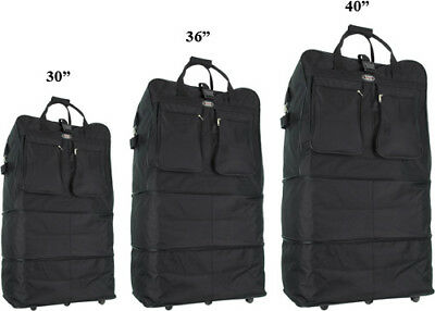 "30""/36""/40"" Black Expandable Rolling Duffel Bag Wheeled Spinner Suitcase Luggage"