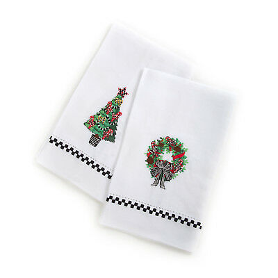 Mackenzie-Childs Guest Towels-Set Of 2 Christmas Greens Candy Cane Tree & Wreath