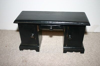 Adorable Vintage Knee Hole Wooden Doll Desk Drawers, Cabinets Open