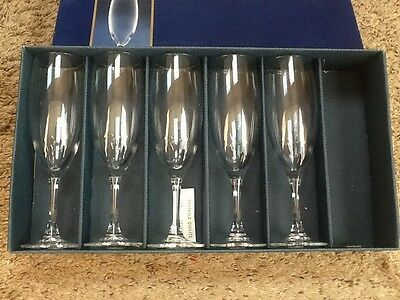 Set of 5 Cristel D'Arques Vicomte Lead Crystal Champagne Toasting Flutes