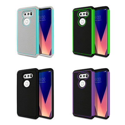 For LG V30 / V30 Plus 6 inch Dual Layer Hybrid Hard Rubber Silicone Case Cover