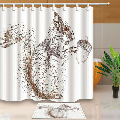 Creative Squirrel Eats Pines Cone Bathroom Shower Curtain Set Fabric &12 Hooks