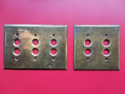 2 PC. Lot: Vtg Brass 3-Push Button, 2-Push Button Wall Light Switch Plate Covers