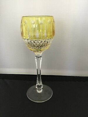 "Faberge Imperial Xenia Yellow Gold Cut to Clear Crystal Wine Goblet 8.25"" New"