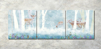 "Fantasy elk Art Printed Painting on Canvas 16x16"" 3Parts Home Wall Decor 1448"