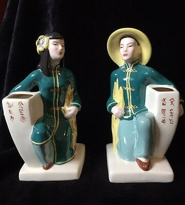 PAIR LG VTG 40's Weil Ware Signed California Pottery Vase Planter Asian Oriental