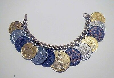 Antique England QUEEN ELIZABETH COIN BRACELET - HALF PENNY Charms