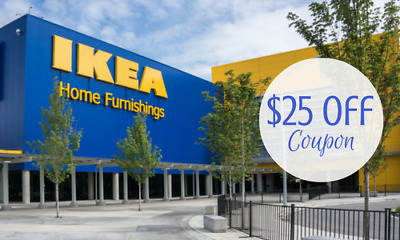 TWO Ikea $25 Off $250 Coupon Valid On ANY Purchase FAST SHIP Exp. 3/29/2018