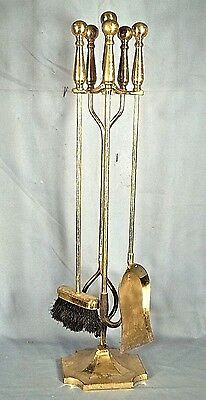 Set Of Mid Century Modern Solid Brass Cannon Ball Fireplace Tools+Stand