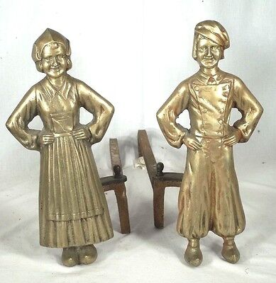 Vintage Pair Of Solid Brass Dutch Boy And Girl Figural Folk Art Andirons