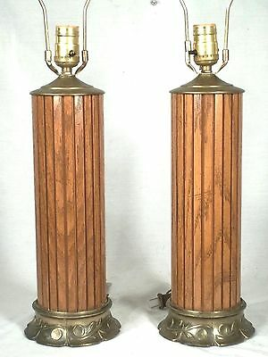 Pair Mid Century Modern Laminated Wood Column Lamps On A Brass Base