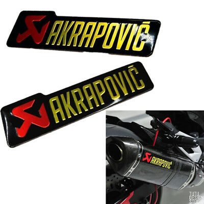 2PC  AKRAPOVIC Heat-Resistant Exhaust Pipe Sticker Motorcycle 140x39mm Decal