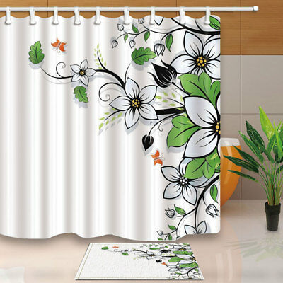 Beautiful Flower And Butterfly Bathroom Shower Curtain Set Fabric & Hooks 71In