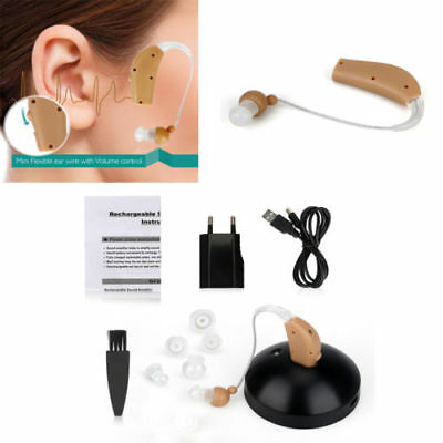Rechargeable Digital Hearing Aids Device Sound Amplifier BTE Behind The Ear New