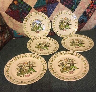 """Vintage Happy Time Poppy Trail 10"""" Dinner Plates HAND PAINTED Set Of 6"""