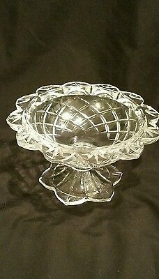 VINTAGE Lead Crystal Pedestal Candy Dish with Diamond Pattern - SIMPLY GORGEOUS