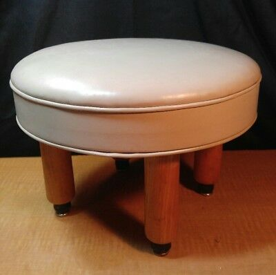 Unique! Vintage Mid Century Modern Round Foot Stool Ottoman White W/ Wood Legs