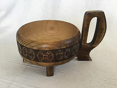 Vintage Turned And Carved Scandinavian Drinking Bowl