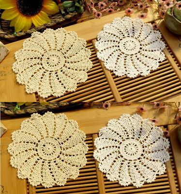 "Lot of 6 Hand Crochet 7.5"" WHITE BEIGE Doilies Vintage Wedding Tea Party NEW"
