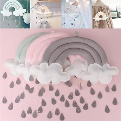 Rainbow Cloud Rain Drops Wall Hanging Photo Prop Baby Nursery Mobile Decor LH