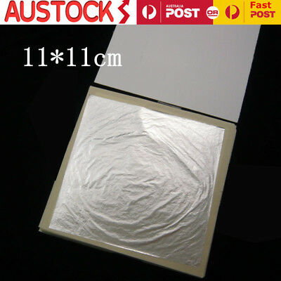 10-50pcs 24K Silver Leaf Sheets Edible Pure Gold Leaf Gilding 11*11cm