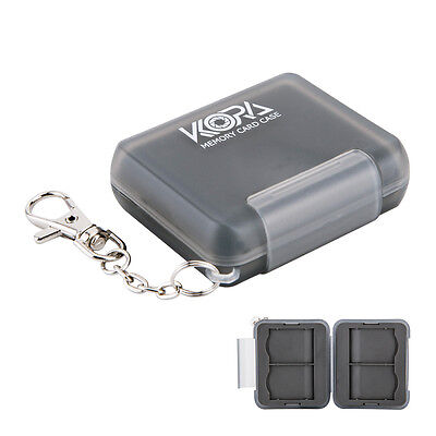 KORA Memory Card Case Hard Holder Protector Cover With Key Chain For 4 SD Cards