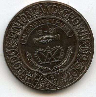 Lodge  Union and Crown  Number 307  Masonic  Penny  Token