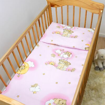 4 Piece Bedding Set 135x100 Baby Cot Bed Duvet/Pillow + Covers Ladders Pink