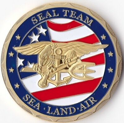 United States Of America Navy Seal Team Us Usa Gold Plated Coin Token Medal