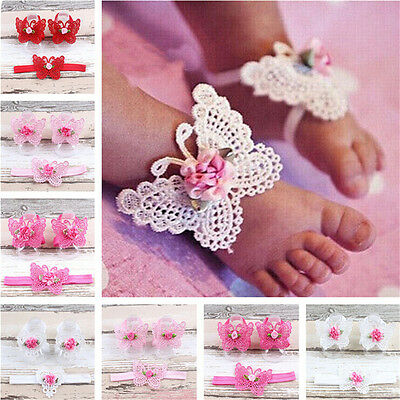 3x/Set Newborn Baby Girls Butterfly Headband Headdress Foot Flower Photo ProRDUJ