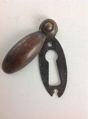 Antique Brass Door Keyhole Escutcheon Key Cover Old Reclaimed Architectural