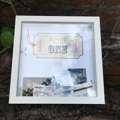 Admit One Ticket Stub Storage and Display in Boxed Frame