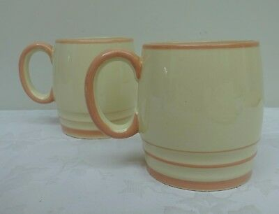 2 Lovely Gray's Pottery Mugs Vintage 1930's Cream & Peach Cups Coffee Tea Gift