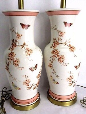 """Vtg Pair of Large 33"""" Asian Heyco Lamps Floral Butterflies Design Chinoiserie"""