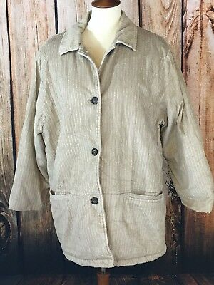 Vintage Womens Blair Corduroy Jacket Faux Fur Lined Size Large Tan