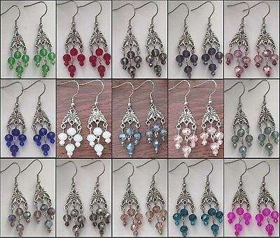Beautiful Deep Colors Small Chandelier Dangle Earrings Victorian Vintage Style