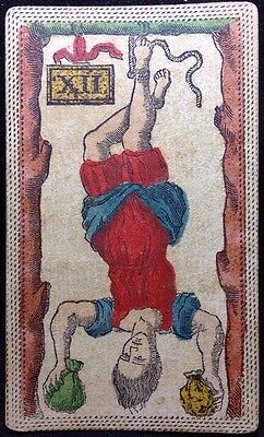 XVIII Century Hanged Man Authentic Tarot Playing Cards Colour Engraved Single